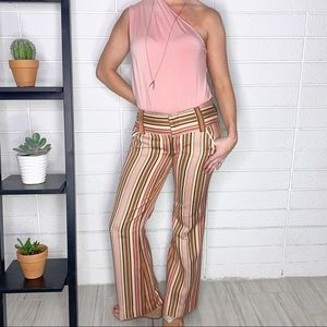 Alice + Olivia Striped Coral Brown Flare Leg Pants
